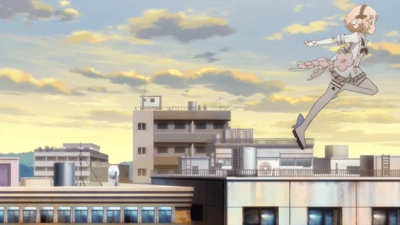 A magical girl leaps across a skyline