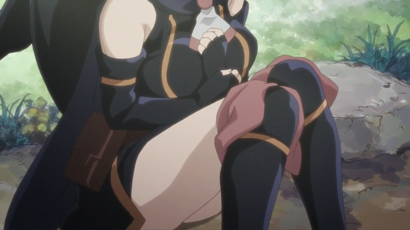 A shot of Shihoru crouching, the camera focused on her chest and legs.