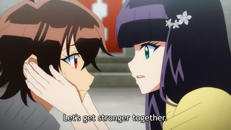 "Benio grabs Rokuro's face and says ""Let's get stronger together."""
