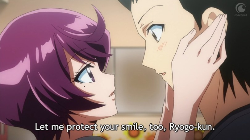 "Haruka holds Ryogo's face and says ""Let me protect your smile, too."""