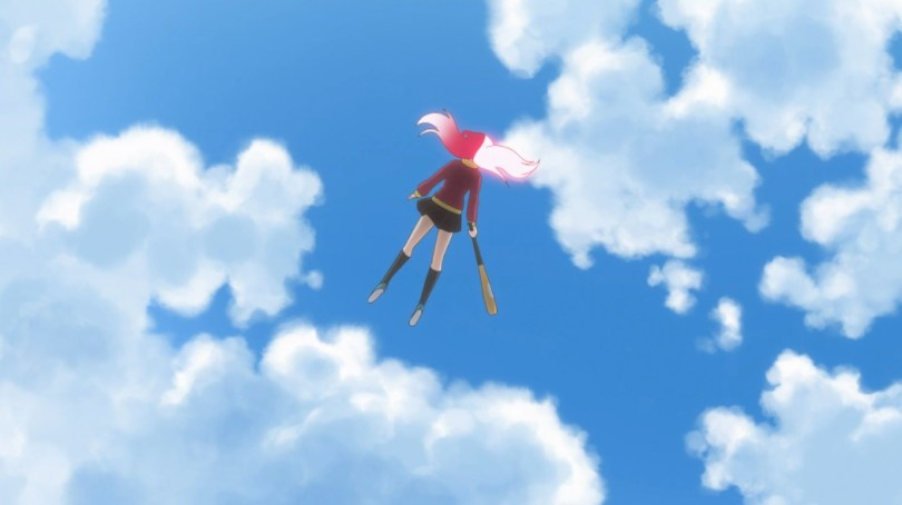 We look up at a girl floating down from the blue sky. She has long hair, the left half dark pink and the right half light pink, and wears a burgundy jacket over a dark short skirt and dark knee high socks. She holds a baseball bat in her right hand.