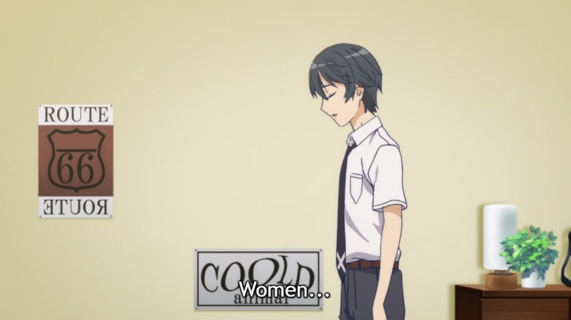 """Yuu walks into his bedroom past a wall with a few posters on it, his eyes closed and face resigned. Subtitle: """"Women..."""""""