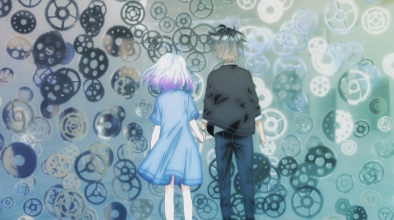 We see the backs of Tazuna and Koyori as they hold hands and face a floating wall of independently moving gears.