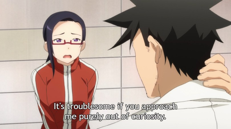 """Satou-sensei speaks to Takahashi-sensei with a concerned expression. Subtitle: """"It's troublesome if you approach me purely out of curiosity."""""""