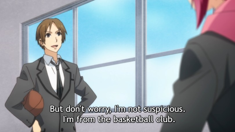 """A boy in school uniform stands confidently, hands on hips and a basketball under one arm, facing Atom, L and R in school. Subtitle: """"But don't worry, I'm not suspicious. I'm from the basketball club."""""""