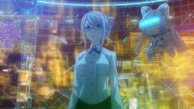 Their teacher stands in front of a screen with a digital pattern on it, wearing a very fitted white shirt and a short black skirt, her hair up in a bun and glasses. Next to her is a small, flying chibi mascot with robot features and a visor across her eyes.