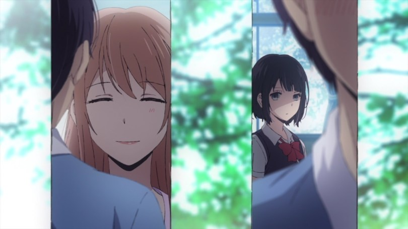 A background of out of focus summer trees, with two vertical panels overlaid, the left showing the smiling face of the music teacher in conversation with Hana's crush, the right of Hana's displeased face looking on.