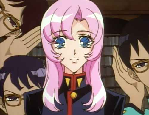 A surprised Utena stares forward while three guys in glasses lean in around her, hands cupped to their ears