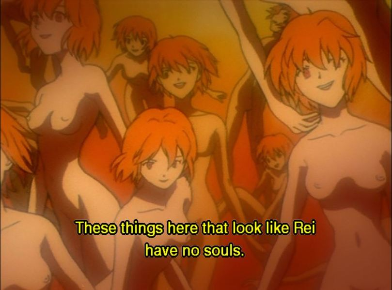 A tank of Rei clones. Subtitle: These things here that look like Rei have no souls