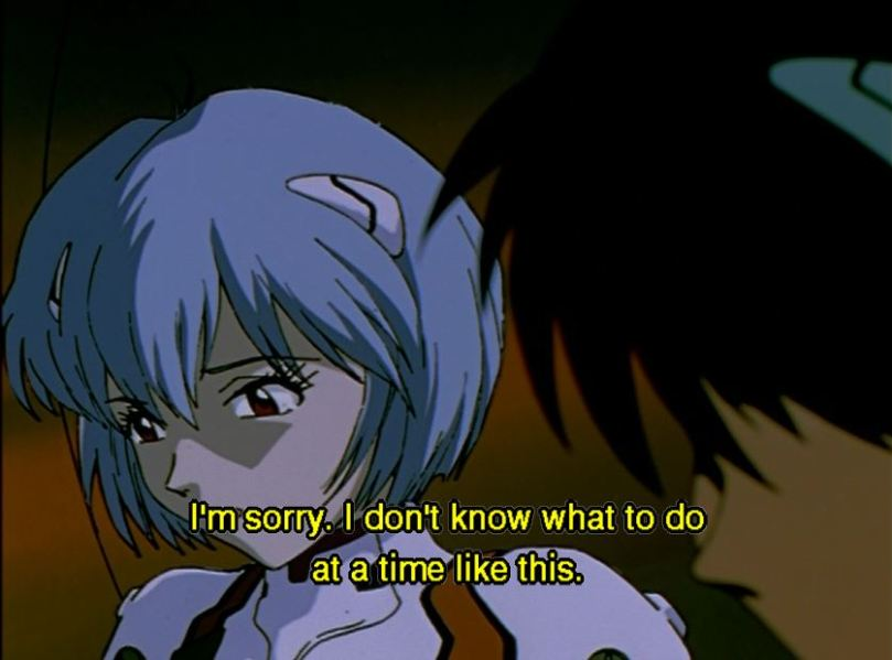 Rei and Shinji. Subtitle: I'm sorry. I don't know what to do at a time like this.