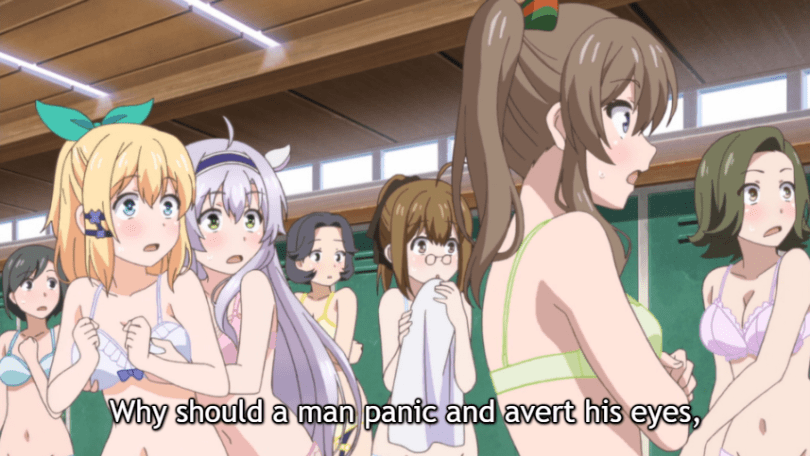 "The girls continue to be in their underwear, startled and frozen. Subtitle: ""Why should a man panic and avert his eyes,"""