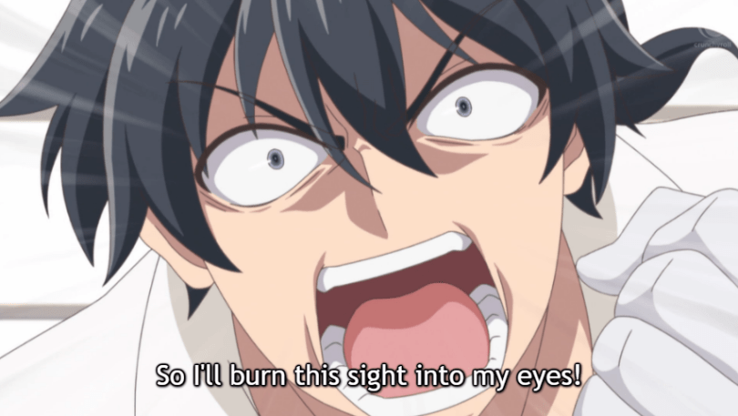 """Close-up of Glenn's face as he screams. Subtitle: """"So I'll burn this sight into my eyes!"""""""