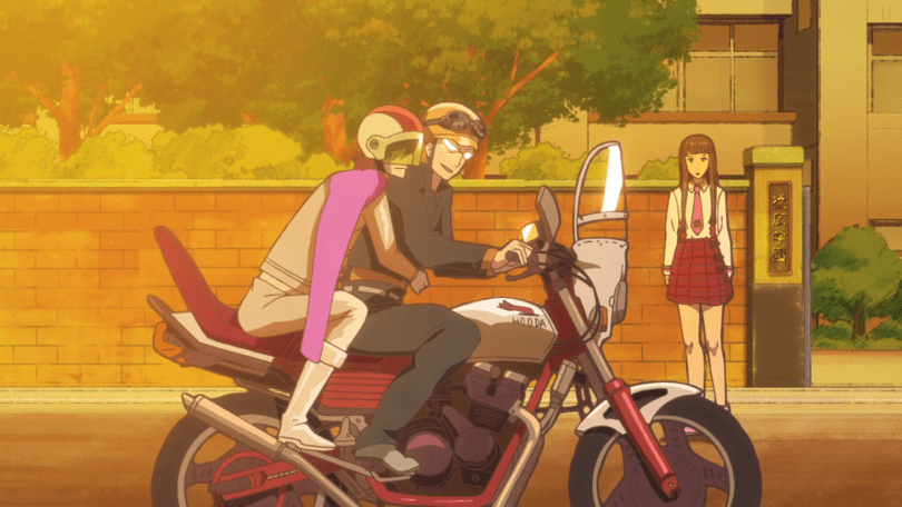 Chopin and Schubert literally ride off into the sunset on a motorbike.