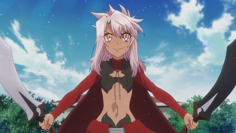 Chloe from Fate/Kalied Liner Prisma Ilya, a tan-skinned, white-haired girl holding two swords. Her magical girl costume leaves most of her chest, midriff and legs on show