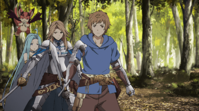 Gran stands in front of Katalina, who stands in front of Lyria to protect her. Gran has his sword out, ready to protect both of them.