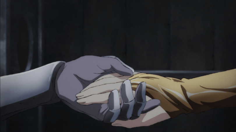 Close-up of Lyria and Katalina's hands clasped together.
