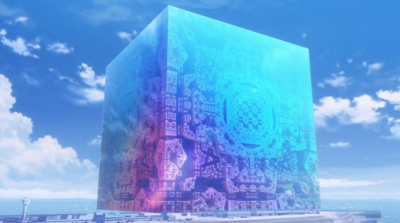 The enormous cube standing on the airport runway,with patterns shifting over its multicolored surface.
