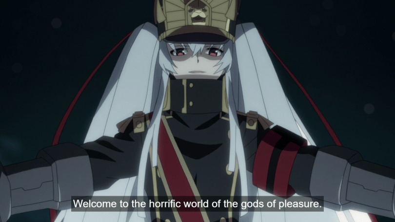 "The stranger, with long silver hair and a high-necked military style uniform, stands with arms outstretched, smiling. Subtitle: ""Welcome to the horrific world of the gods of pleasure."""