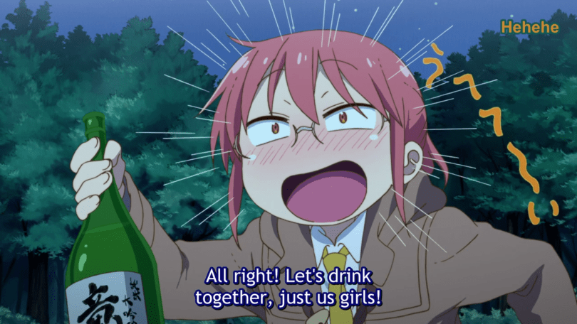 "A redheaded woman in glasses holds a bottle of sake and laughs. Subtitles: ""All right! Let's drink together, just us girls!"""