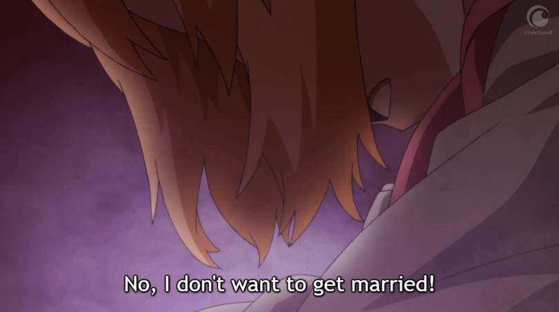 "Suusu looks down, her hair hiding her face. Subtitle: ""No, I don't want to get married!"""