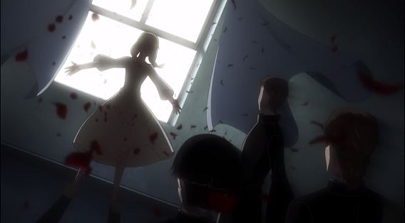 Julia stands in front of a window while blood from her stigmata blows toward the protagonists