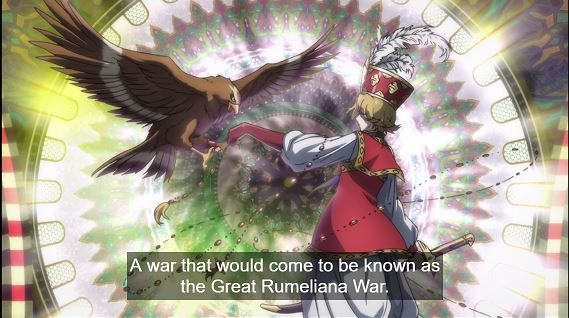 Altair and his eagle. Narration: A war that would come to be known as the Great Rumeliana War
