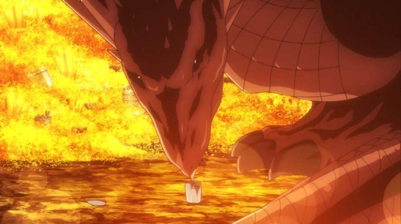 A dragon sticks its tongue into a tiny soup pot