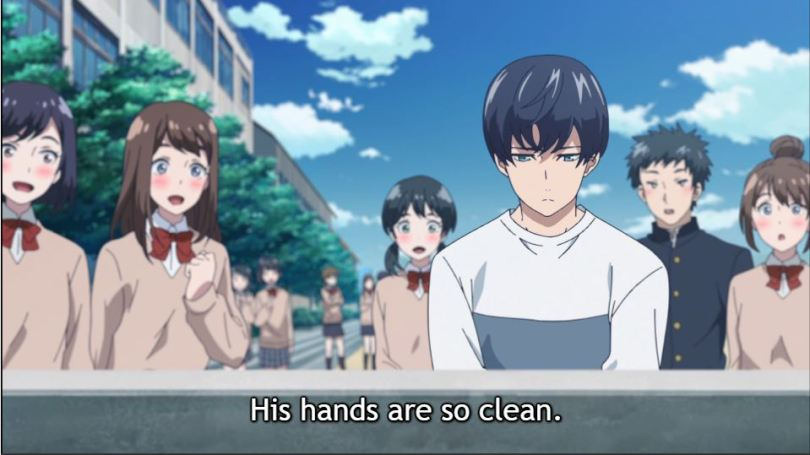 """Girls watch Aoyama washing his hands. """"His hands are so clean!"""""""