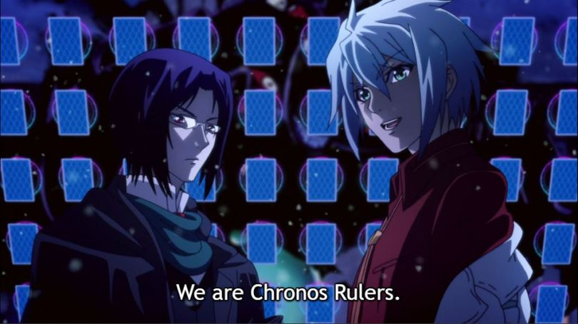 The main characters. Dialogue: We are Chronos Rulers