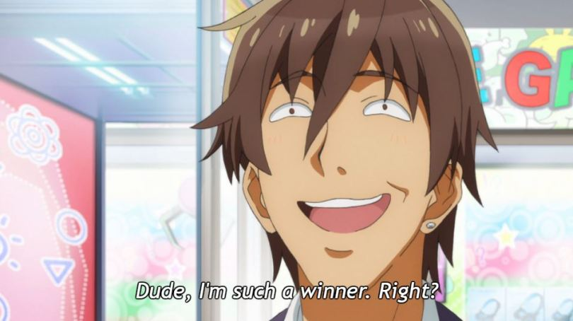 A male student grinning in an exaggerated manner. Inner monologue: Dude, I'm such a winner, right?