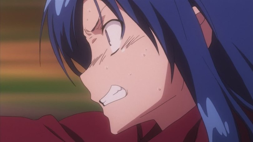 Close up of a blue-haired girl in profile, her face contorted in anger and one arm outstretched