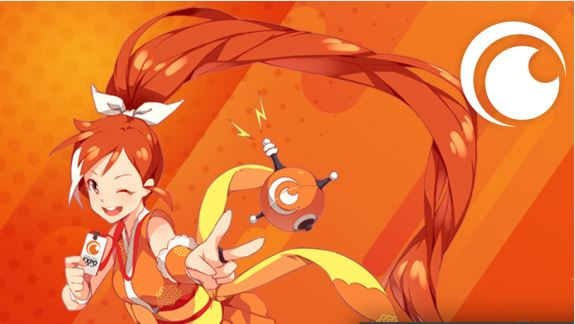 A bright orange background with an orange-clad, redheaired ninja girl, the mascot for Crunchyroll.