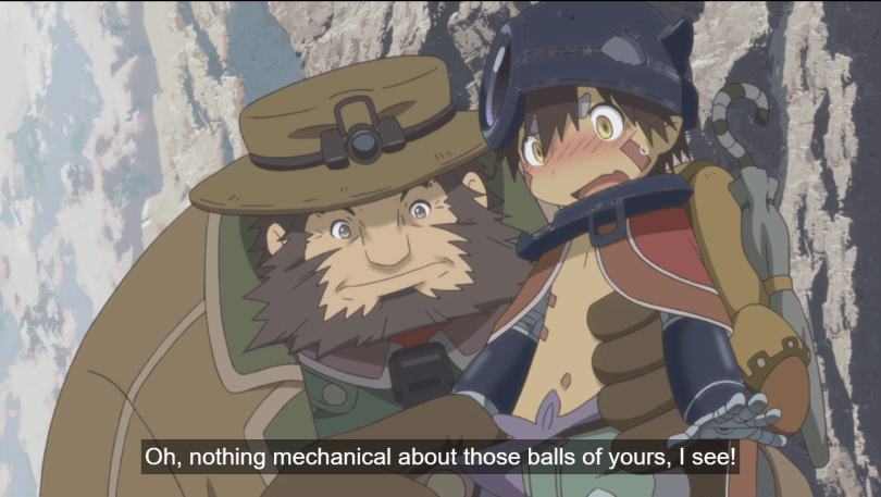A bearded man holds an embarrassed young robot boy with one hand while holding the boy's pants open with the other hand. Subtitle: Oh, nothing mechanical about those balls of yours, I see!