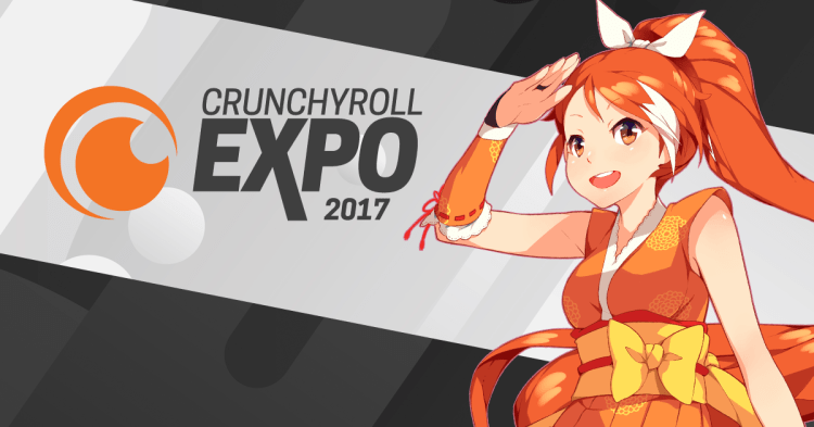 "Atop a gray background with a light-gray stripe going sideways down the middle, to the left there is the Crunchyroll logo (two orange half-circles simulating a sushi roll as seen from the top) and the words ""Crunchyroll Expore 2017."" To the right is a a mid-shot of a smiling orange-haired girl in orange-and-yellow ninja garb who shades her eyes with one hand and looks"