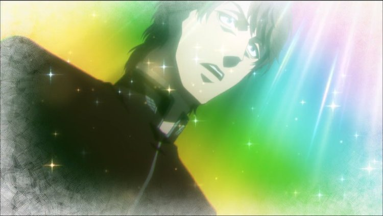 a young man in a priest's cassock stares in shock at something, surrounded by sparkles and rainbow light