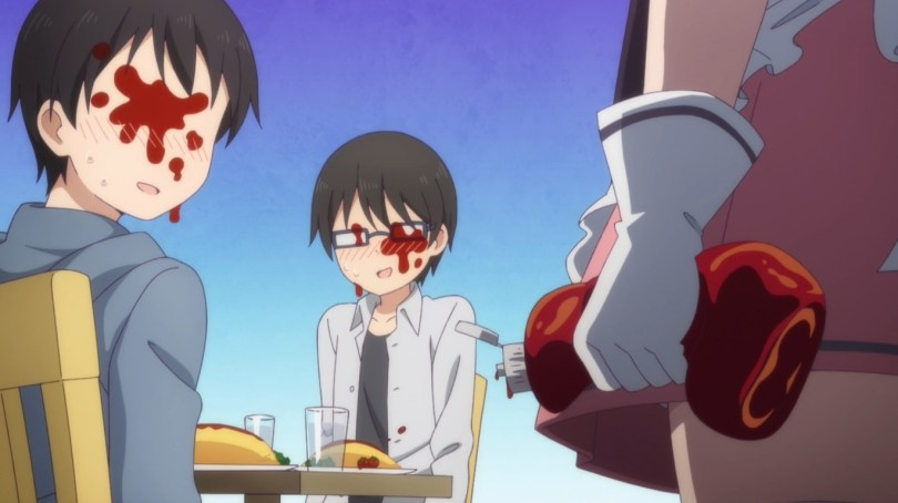 In the foreground is a girl in a maid uniform with a bottle of squeezed ketchup gripped in one hand. Behind her are two boys sitting at a table with omelette rice in front of them. Their faces are covered in red splotches.