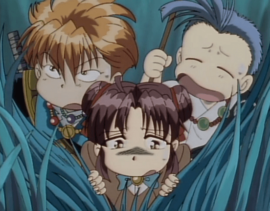A chibi girl in a school uniform parts tall grasses and sighs, looking tired. Behind her are two chibi young men: On the right is one wearing prayer beads and holding a staff, eyes squinted shut; to the left is a redhead wearing a jacket and bright necklaces. Both look tired.