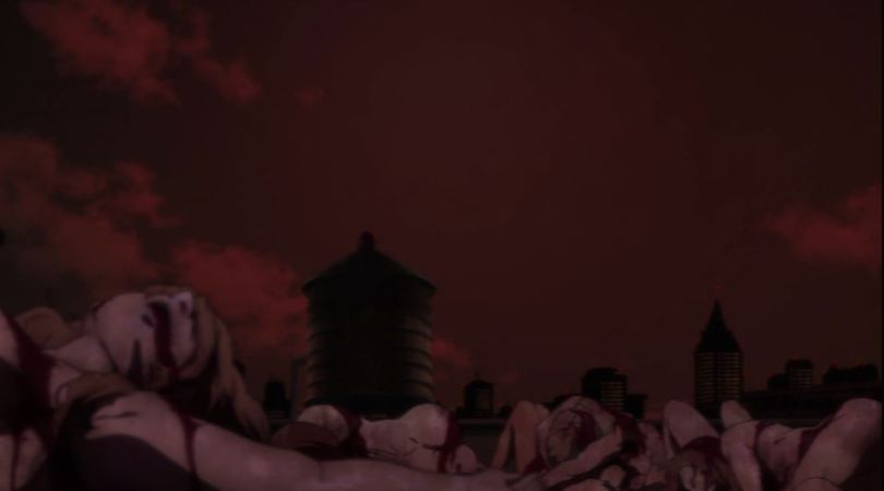 a bloodred sky over a rooftop and many naked corpses of women