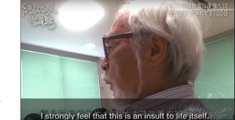 a close up of Hayao Miyazaki's face. subtitle: I believe strongly that this is an insult to life itself.