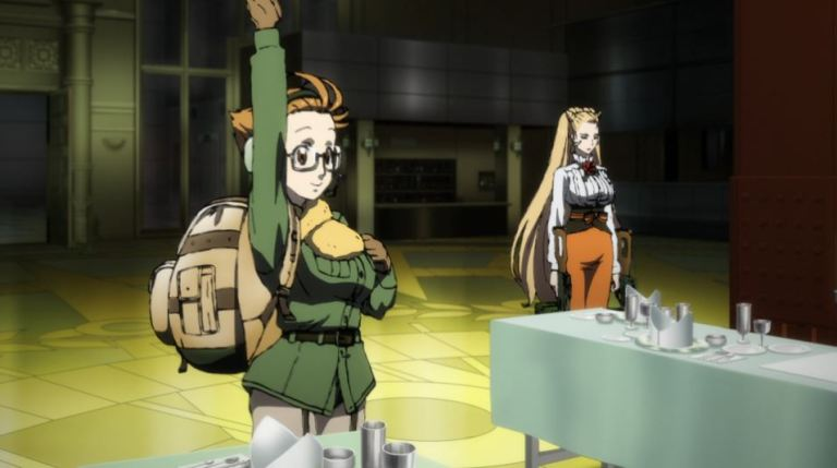 a girl in glasses, a heavy coat and no pants holds up her hand in the middle of a banquet hall