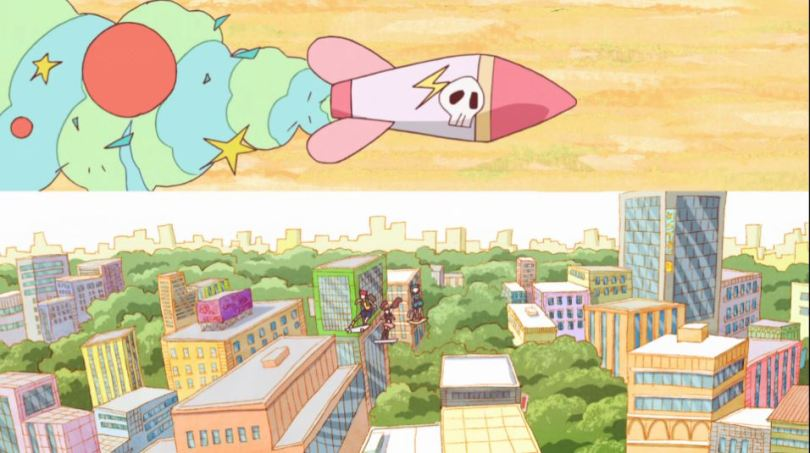 a split screen with a city on the bottom and a speeding cartoonish missile on top