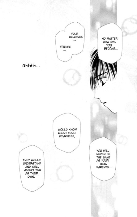 """A mostly white panel with a brief view of Arima's profile. Dialogue bubbles discuss that no matter how """"evil"""" he becomes, there are still people who would love him"""