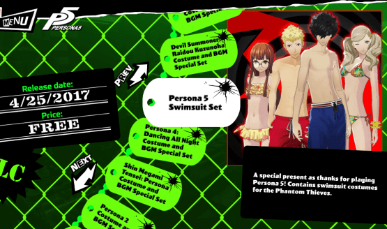 """A game menu with multiple options. The highlighted open is """"Persona 5 Swimsuit Set."""" There is a small image of four young people - two boys and two girls - wearing swimsuits."""