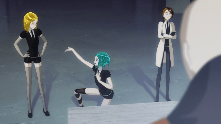 An androgynous figure wearing a dark uniform crouches on one knee and holds up an arm as if serenading the person next to them, who looks at them with hands on hips, unimpressed. Next to them is another person in a lab coat, arms crossed, looking annoyed.