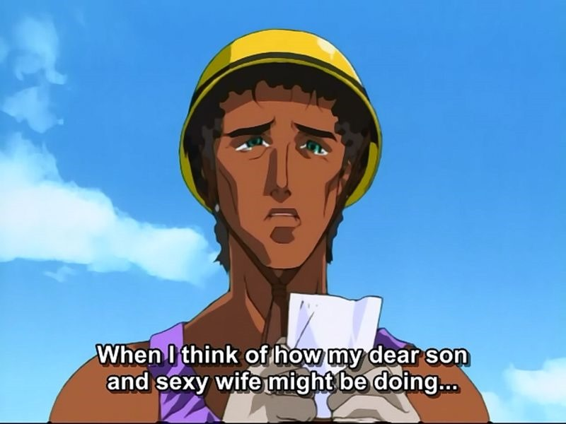 """A Latinx man (Pedro) wearing a hardhat and tank top, tears in his eyes. Subtitles: """"When I think of how my dear son and sexy wife might be doing..."""""""
