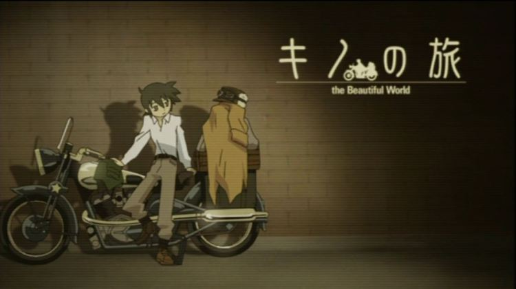 Kino leaning against a motorrad (motorcycle) in a featureless space, with the show's title in the upper righthand corner