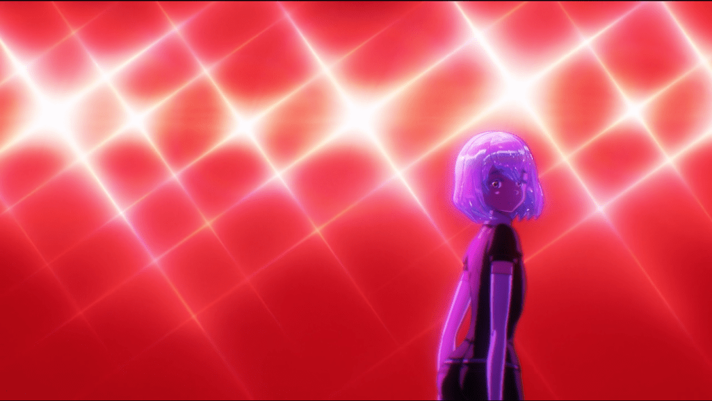 A bpb-haired figure looking toward the camera. they're tinted purple against a red-washed background and many bright lights
