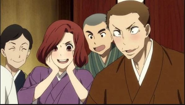Four people--three men and one women, all dressed in yukata--stare at something offscreen with delighted expressions on their faces