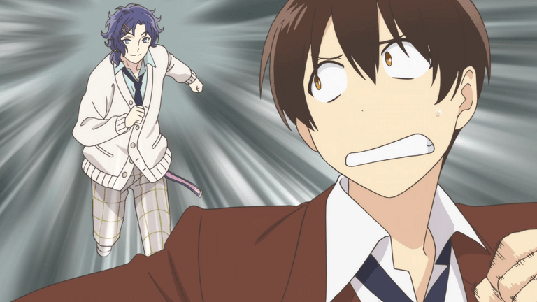 A teen boy in a school uniform looks freaked out as he flees from a teen boy with his hair pinned up in berrettes wearing a more casual version of the same school uniform, who is chasing after him.