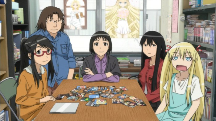 The club members of Genshiken sitting at a table, surrounded by anime memorabilia